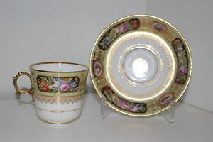 Rare Antique Sevres King Louis Philippe Chateau D Eu Cup Saucer Set France
