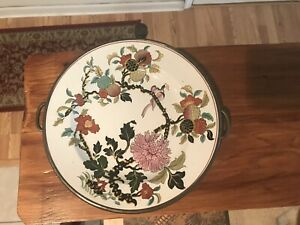 Antique Porcelain Transferware Plate Attached Metal Warming Dish