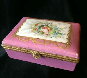 Antique French Signed Porcelain Hand Painted Hinged Box Sevres Style