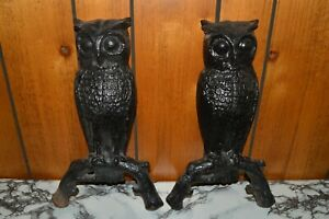 Pair Of 2 Vintage 14 Cast Iron Owl Fireplace Andirons United Mfrs Ltd