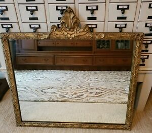 Antique Victorian Gold Gilt Wood Gesso Wall Mirror Floral Free Ship