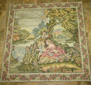 Antique French Tapestry Panel Textile Vintage Wall Hanging Decor