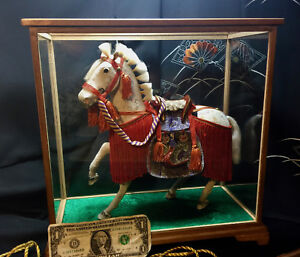 Exquisite Large Warrior Show Horse Auth Dressed Mane Saddle Glass Case Offers Ok