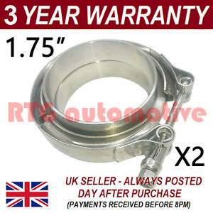 2x V Band Clamp Flanges All Stainless Steel Exhaust Turbo Hose 1 75 45mm