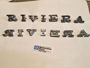 1968 1969 Riviera Fender Letters Emblems New Pair 68 69 u s a Made