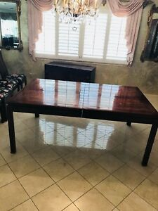 Asian Influenced Dining Room Table W 2 Leaves