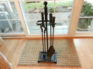 Antique Bradley Hubbard Black Painted Hammered Brass Fire Place Tools