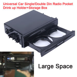Universal Car Single Double Din Radio Stereo Pocket Drink Cup Holder Storage Box