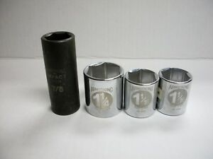 Lot Of 4 Armstrong 1 2 Drive 6 Point Standard Deep Impact Sockets