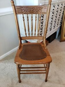 Antique Oak Pressed Back Spindle Chair With Tooled Leather Seat Free Shipping