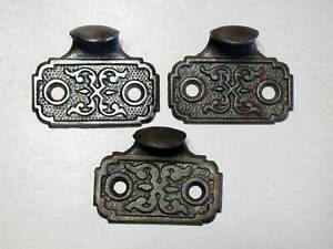 Antique Set 3 Window Sash Lifts Originals Ornate Cast Iron Patented 1871 Signed