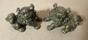 Pair Quality Antique Miniature Solid Bronze Chinese Foo Dog Lion Statue Figures