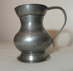 Antique 18th Century Handmade 1700 S English Hallmark Pewter Tankard Mug Stein