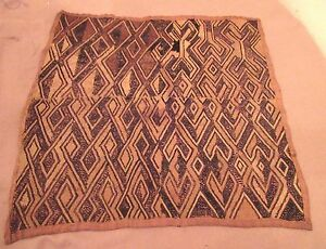 Antique 1800 S Handmade African Kuba Woven Straw Cloth Mat Rug Art Old Textile 3