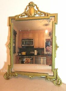 Antique Ornate 19th Century Louis Xvi Style Gilt Bronze Wall Mirror Victorian 22