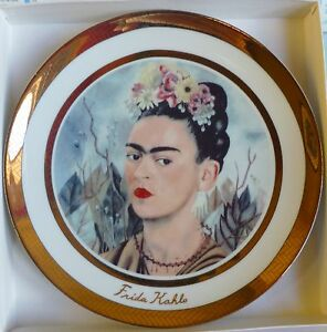 Rosenthal Frieda Kahlo Self Portrait Porzelain Artists Plate 24k Gold Plated New