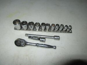Snap On 14 Piece 1 4 Ratchet Wrench Set 6 Pt Sae 3 16 9 16 Socket 114atmp