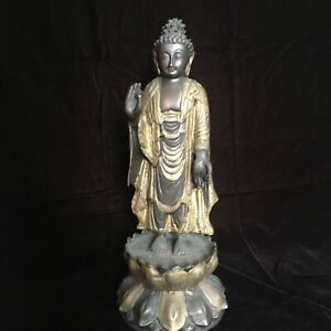 Large Bronze Chinese Buddha Statue 19th C Gilded 16 H