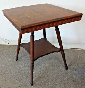 Old Oak Fern Stand Square Parlor Table W 2 Shelves Sold Wood Decorative Legs