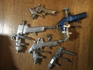 Lot Of 5 Pneumatic Spray Guns Spee Flo Binks Graco Tri Com Hvlp Nice Lot