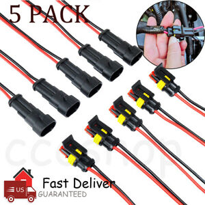 5 Pack 2 Pin 20awg Way Male Female Electrical Connector Plug Wire Car Waterproof