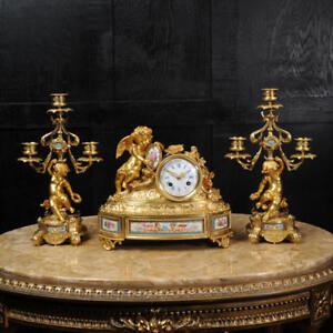 Japy Freres Early French Ormolu And Sevres Porcelain Clock Set C1850 Cherubs