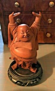 Vintage Chinese Hand Carved Wooden Laughing Buddha Statue 7 7 8 X 3 1 2 Smooth
