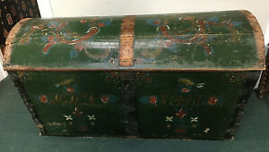 Antique 1861 Scandinavian Dome Wedding Trunk Chest Lock Key Green Shabby Chic