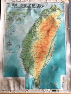 Vintage Cloth Roll Up Map 1 Layer Taiwan Vintage Salvage Old Antique