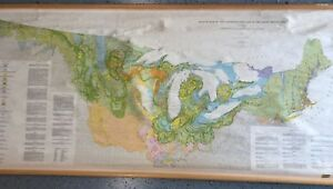Cloth Roll Up Map 1 Layer Glacier Map Of Us East Of Rocky Mountains Vintage