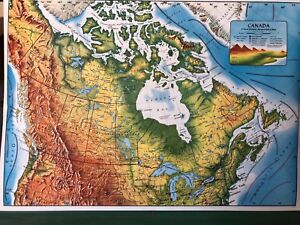 Pull Down School 1 Layer Terrestial Map Of Canada Vintage Salvage Antique