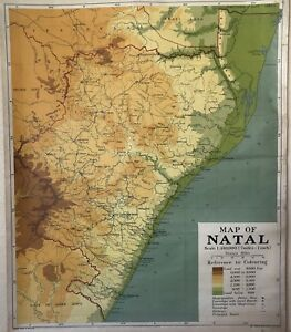 Vintage Pull Down Map Cloth 1 Layer Of Natal Vintage Salvage Antique