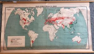 Vintage Cloth Roll Up Map 1 Layer World Vintage Salvage Old Antique