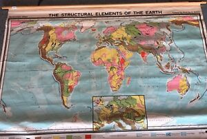 Vintage Cloth Roll Up Map 1 Layer Elements Vintage Salvage Old Antique