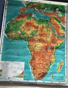 Vintage Cloth Roll Up Map 1 Layer Africa Vintage Salvage Old Antique