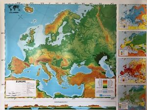 Pull Down School 2 Layer Map Of Europe Vintage Salvage Old Antique