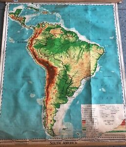 Vintage Cloth Roll Up Map1 Layer South America Vintage Salvage Old Antique