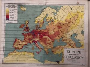 Vintage Pull Down Map Cloth 1 Layer Of Europe Vintage Salvage Antique