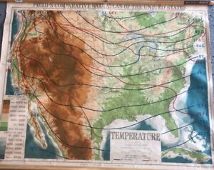 Vintage Cloth Roll Up Map1 Layer Temperature Usa Vintage Salvage Old Antique