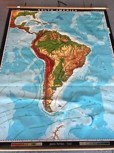 Vintage Cloth Roll Up Map 1 Layer South America Vintage Salvage Old Antique