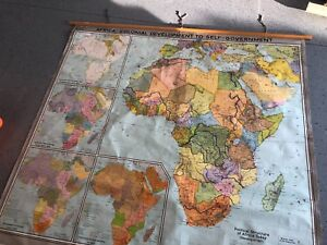Vintage Cloth Roll Up Map 1 Layer Africa Government Vintage Salvage Antique