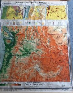 Vintage Cloth Roll Up Map 1 Layer Pacific Northwest Salvage Old Antique