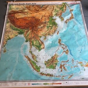 Vintage Cloth Roll Up Map 1 Layer Asia Vintage Salvage Old Antique