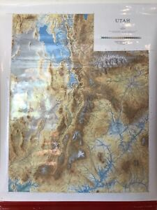 Pull Down School Map Of The State Of Utah Vintage Salvage Old Antique