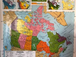 Pull Down School Maps 1 Layer Canada Vintage Salvage Old Antique