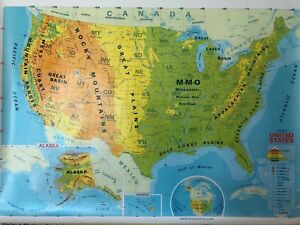 Pull Down School Maps 2 Layer U S World Vintage Salvage Old Antique