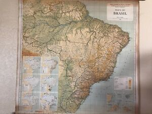 Vintage Pull Down Map Cloth 1 Layer Brazil Vintage Salvage Old