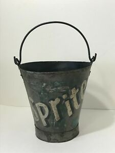 Vintage Old Rustic Folk Art Painted Sprite Soda Advertising Metal Pail Bucket