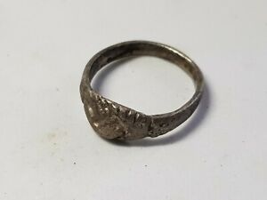 Late Roman Or Medieval Silver Marriage Ring Clasped Hands