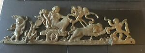 Vintage Brass Wall Art Key Hook Figure On Chariot With Cherubs Made In Italy